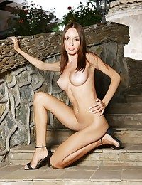 Slender figure with liberal perky breasts, and long, svelte legs.