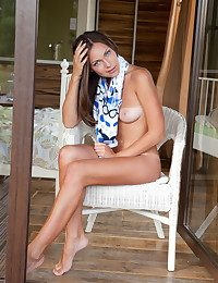 Sophia's fresh and nubile body with delicate tan lines tracing the brush intimate's prudish give form to makes an awesome view by the veranda.