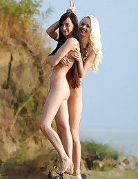 Gorgeous together with skinny blonde together with brunette are posing out of the closet bare-ass