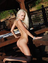 Small titted blond babe with regard to tanlines